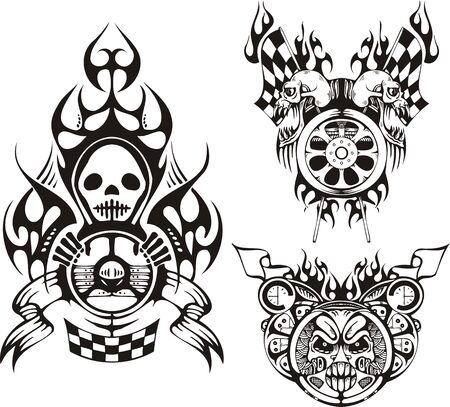 Symbols with skulls. Racing compositions.  illustration ready for vinyl cutting. Vector