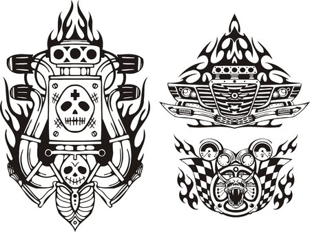 Car bumper, demon and wheel. Racing compositions. illustration ready for vinyl cutting.