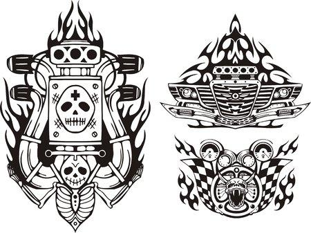 Parachoques del coche, demonio y rueda. Composiciones de carreras.  Ilustración listo para corte de vinilo.
