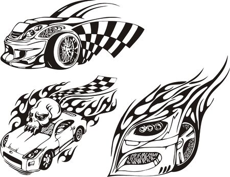 The car with a skull on a roof. Racing compositions.   illustration ready for vinyl cutting. Vector