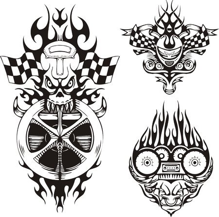 vinyl cutting: Skull with flags and a horned demon. Racing compositions. Vector illustration ready for vinyl cutting.