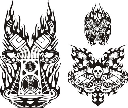 Skull with flags and musical speakers. Racing compositions. Vector illustration ready for vinyl cutting. Vector