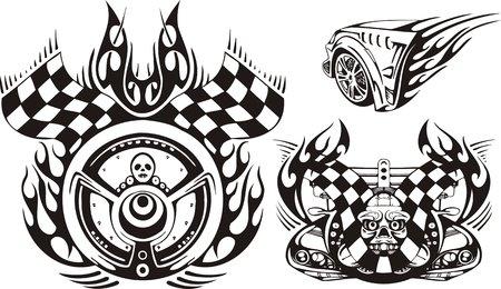 cerchione: Cranio sul fuoco e una ruota con bandiere. Composizioni di corsa.  illustrazione pronta per il taglio di vinile.