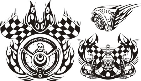 Skull on fire and a wheel with flags. Racing compositions.  illustration ready for vinyl cutting. Vector