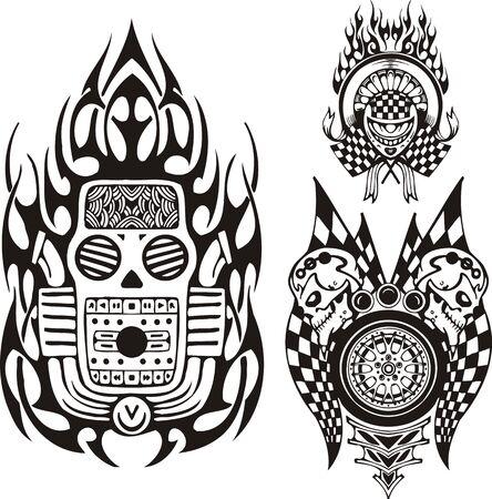 cerchione: Cranio musica, bandiere e teschi. Composizioni di corsa. Illustrazione vettoriale pronta per il taglio di vinile.