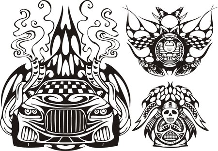 The racing car in a smoke and two demonic symbols. Racing compositions. Vector illustration ready for vinyl cutting. Vector