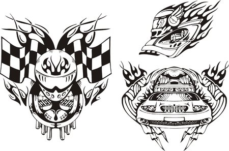 Helmet of the racer, flags and the car. Racing compositions. Vector illustration ready for vinyl cutting. Vector