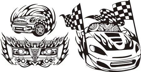 logo rock: La voiture de course avec finition de drapeaux. Compositions de course.  Illustration pr�te pour la d�coupe de vinyle.