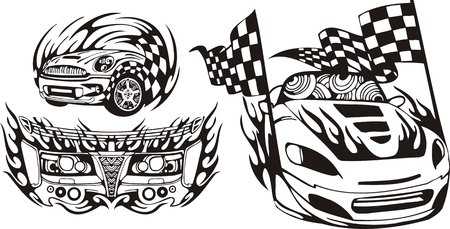 The racing car with finishing flags. Racing compositions.  illustration ready for vinyl cutting. Vector