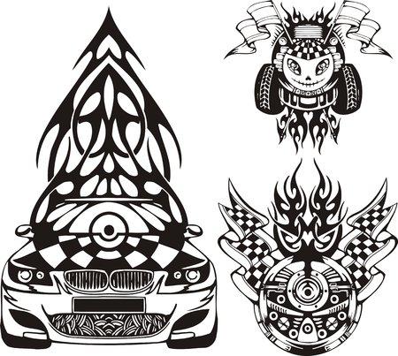 El automóvil de carreras con un árbol de pieles en un techo. Composiciones de carreras.  Ilustración listo para corte de vinilo.
