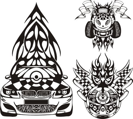 The racing car with a fur-tree on a roof. Racing compositions.  illustration ready for vinyl cutting. Vector