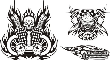 Skull with a cross on forehead and a front part of the car. Racing compositions. illustration ready for vinyl cutting. Vector