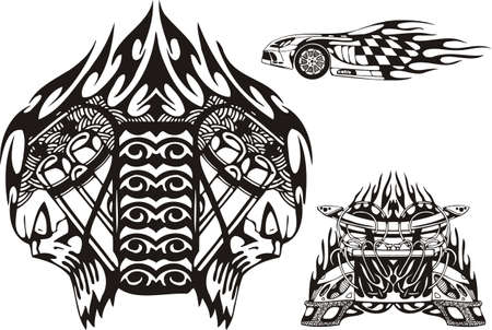 Two skulls and front part of the car. Racing compositions.  illustration ready for vinyl cutting. Vector
