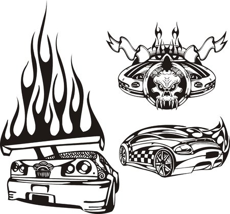 Skull with flags and a car rear. Racing compositions. illustration ready for vinyl cutting. Vector