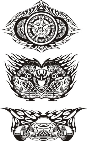 Three off-road symbols. Racing compositions. illustration ready for vinyl cutting.
