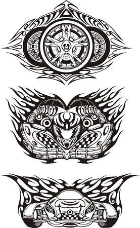 Tres símbolos Off-Road. Composiciones de carreras.  Ilustración listo para corte de vinilo.