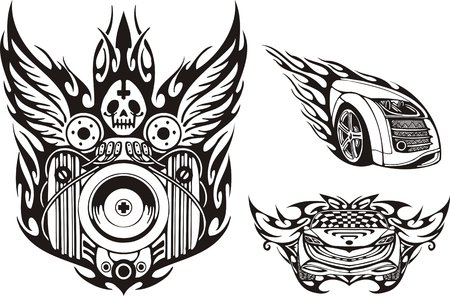 skull logo: Alate demon and part of the car with a headlight. Racing compositions.   illustration ready for vinyl cutting.