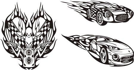 rock logo: El autom�vil de carreras y el s�mbolo con cr�neos. Composiciones de carreras.   Ilustraci�n listo para corte de vinilo.