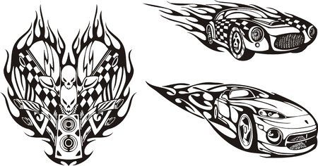 The racing car and symbol with skulls. Racing compositions.   illustration ready for vinyl cutting. Vector