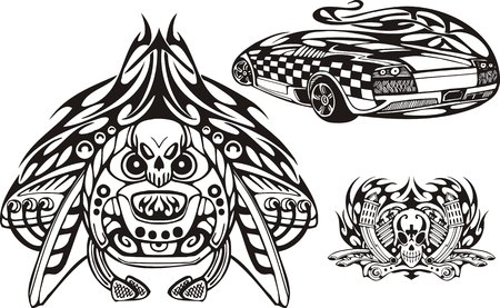 Rear of the car and skull with tubes. Racing compositions.   illustration ready for vinyl cutting. Vector