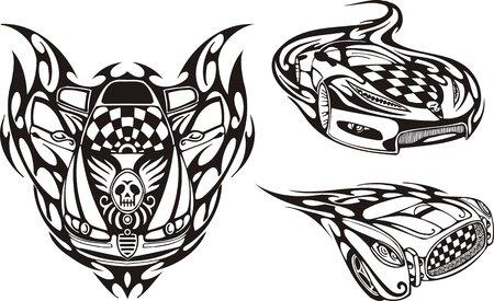 logo rock: La voiture de course avec un cr�ne sur un capot. Compositions de course.   Illustration pr�te pour la d�coupe de vinyle.