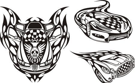 The racing car with a skull on a cowl. Racing compositions.   illustration ready for vinyl cutting. Vector