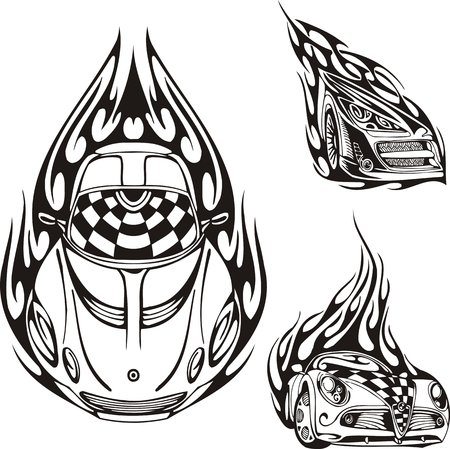 Three cars. Racing compositions. illustration ready for vinyl cutting. Vector