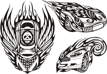 Skull on a car roof. Racing compositions.  illustration ready for vinyl cutting. Vector