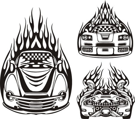 Three racing cars in a black flame. Racing compositions.  illustration ready for vinyl cutting. Vector