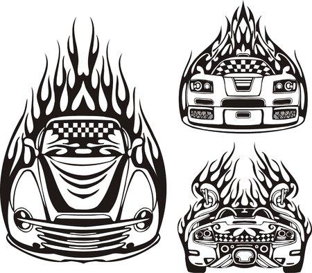 Tres coches de carreras en una llama negra. Composiciones de carreras.  Ilustración listo para corte de vinilo.