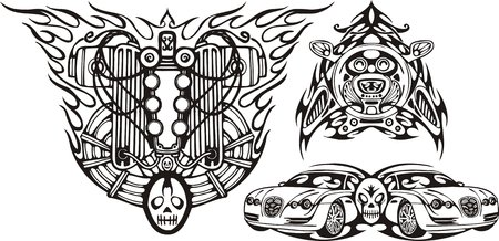 Skull and two cars. Racing compositions.   illustration ready for vinyl cutting. Vector