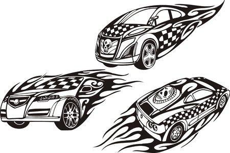 rock logo: El coche con un cr�neo de un techo y el coche con un cr�neo de un parachoques. Composiciones de carreras. Ilustraci�n listo para corte de vinilo.