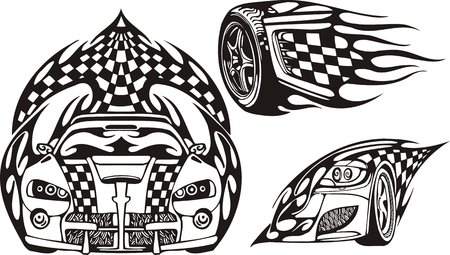 rock logo: El autom�vil de carreras y dos ruedas. Composiciones de carreras.  Ilustraci�n listo para corte de vinilo.