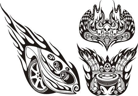 rock logo: S�mbolos Off-Road con cr�neos. Ilustraci�n de composiciones listo para corte de vinilo de carreras. Vectores
