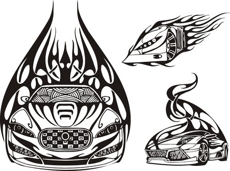 Three racing cars on black fire. Racing compositions. illustration ready for vinyl cutting. Vector