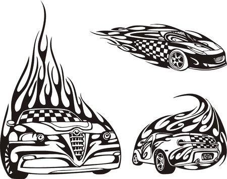 rock logo: Autom�viles: la vista frontal y la vista posterior. Composiciones de carreras.  Ilustraci�n listo para corte de vinilo.