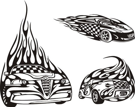 cowl: Cars: the front view and the rear view. Racing compositions.  illustration ready for vinyl cutting.