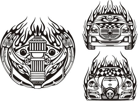 Racing symbol and two cars. Racing compositions.  illustration ready for vinyl cutting. Vector