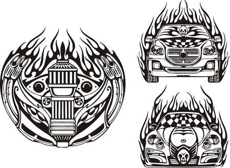 rock logo: S�mbolo y dos coches de carreras. Composiciones de carreras.  Ilustraci�n listo para el corte de vinilo.