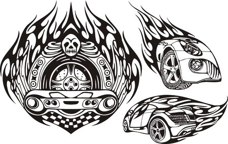 Skull with a wheel and two cars. Racing compositions. Vector illustration ready for vinyl cutting. Vector