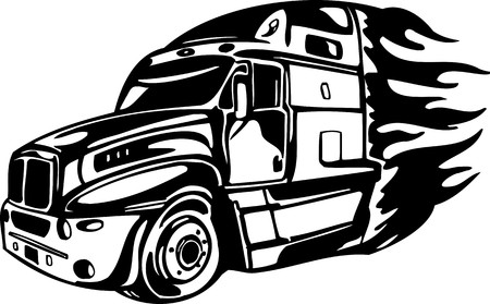 haul: Racing Trucks with inclusion of a flames and tribal. illustration ready for vinyl cutting. Illustration