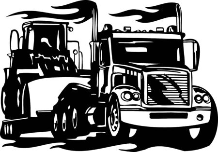 truck on highway: Racing Trucks with inclusion of a flames and tribal. illustration ready for vinyl cutting. Illustration