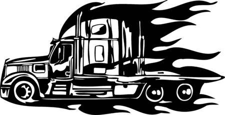 mode of transportation: Corse camion con inserimento di un fiamme e tribali. illustrazione pronta per il taglio di vinile.