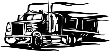 Racing Trucks with inclusion of a flames and tribal. illustration ready for vinyl cutting. Vector