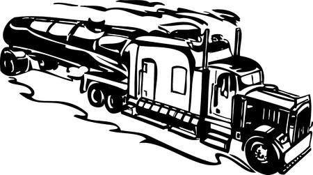 mode of transport: Racing camiones con inclusi�n de un llamas y tribales. Ilustraci�n listo para corte de vinilo.