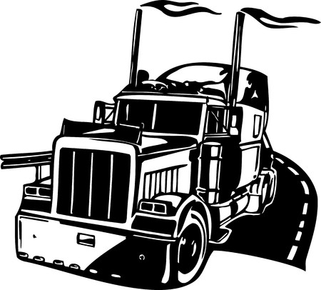 camion de bomberos: Carreras de camiones con inclusi�n de un llamas y tribales. Ilustraci�n listo para corte de vinilo. Vectores