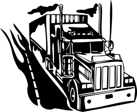 Racing Trucks with inclusion of a flames and tribal. illustration ready for vinyl cutting. Illustration