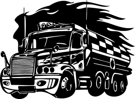 Racing Trucks with inclusion of a flames and tribal. illustration ready for vinyl cutting. Stock Vector - 8651089