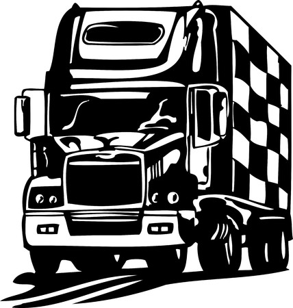 Racing Trucks with inclusion of a flames and tribal illustration ready for vinyl cutting. Vector