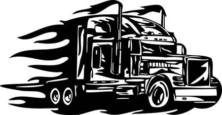 remolques: Carreras de camiones con inclusi�n de un llamas y tribales. Ilustraci�n listo para corte de vinilo. Vectores